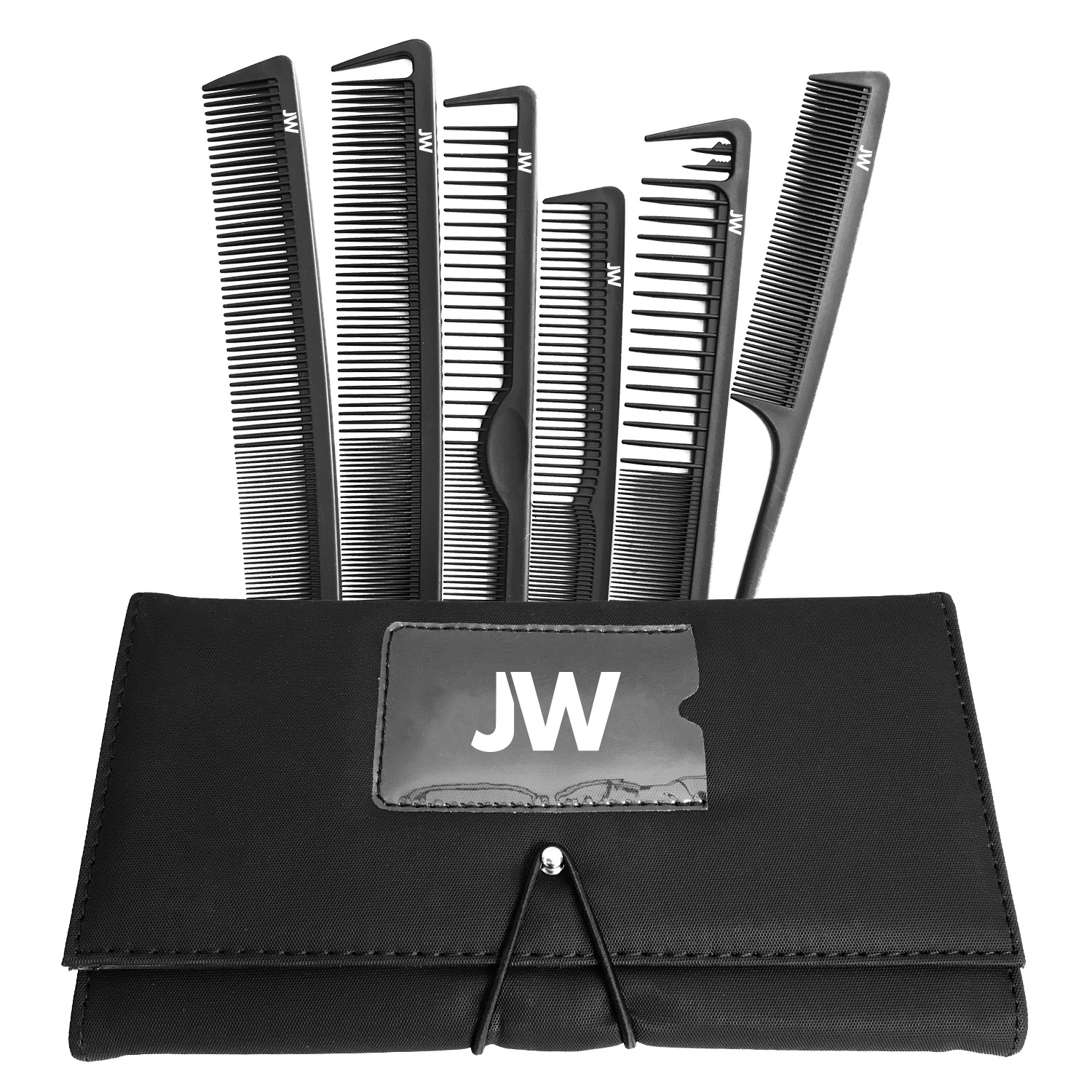 JW 6 Piece Carbon Comb Set with Case